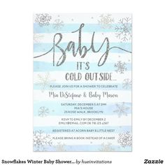 Snowflakes Winter Baby Shower Invitation Baby it's cold outside! Celebrate your baby shower in the winter season with a snowflake winter themed invitation: blue and white stripes and faux silver glitter snowflakes and confetti.