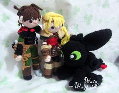 Hiccup and Astrid #HTTYD2 #Hiccup #Astrid #Toothless #amigurumis I NEED TO FIND THE PATTERN FOR THESE!!!
