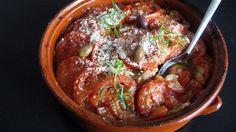 Parmesangratinert fiskegryte medoliven Parmesan, Tapas, Nom Nom, Mad, Good Food, Beef, Ethnic Recipes, Olives, Meat