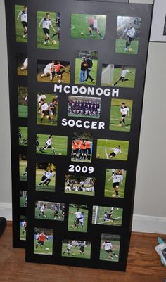 Place each players' picture in a collage frame for a coach's gift or as a great way to remember your child's soccer season. Cheer Gifts, Cheer Mom, Team Gifts, Softball Gifts, Cheerleading Gifts, Soccer Coach Gifts, Tennis Gifts, Basketball Gifts, Soccer Coaching