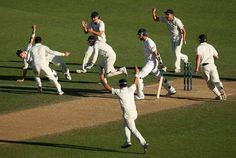 Cricket, like many non-contact team sports, doesn't easily lend itself to dramatic photographs. So every exception is to be celebrated. In this tableau, Tim Southee catches Steve Finn.