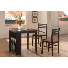 3-Piece Breakfast Table Set in Black / Walnut - Coaster - 130015