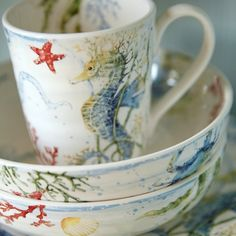 Sea Life Dinnerware and Mugs.... http://www.completely-coastal.com/2017/01/coastal-drift-tablescape-pier-1.html