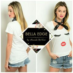 ⚫B1G1 50%⚫ Eyelashes & lipstick graphic tee 85% POLYESTER, 15% COTTON. This soft knit top features a face print with luscious eyelashes and red lipstick print, scoop neckline and short sleeves. Sizes small to x-large. Bella Edge Boutique  Tops Tees - Short Sleeve