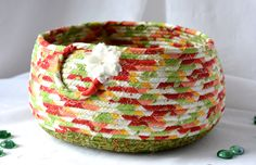 Wexford Treasures:  Decorative Christmas Bowl, Homemade Christmas Gift Basket, Holiday Decoration,  Holiday Table Decor, Handmade Coiled Basket by WexfordTreasures on Etsy
