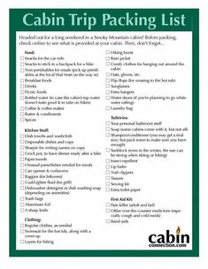 Cabin Trip Packing List (page Good list-a few of the things I won't need to t. - Cabin Trip Packing List (page Good list-a few of the things I won't need to take (coffee maker -