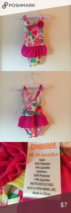Gymboree, Bathing Suit, 12-18 Months, EUC Worn twice! No holes, tears, rips, or stains. Please see third picture for material content. Non-smoking home.  Your little girl will be a precious ballerina in this swimsuit! Offers welcome 🌸 Gymboree Swim One Piece