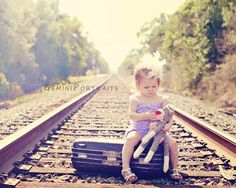 child photography railroad pictures suitcase props sock monkey lace rompers