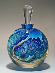 Round Silver Veil Teal Perfume Bottle by Robert Burch: Art Glass Perfume Bottle available at www.artfulhome.com