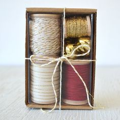 IVORY, GOLD and CARDINAL red gift wrap kit - holiday packaging kit with twine, ribbon and jingle bells