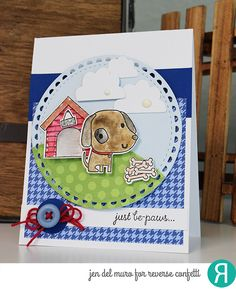 Card by Jen del Muro. Reverse Confetti stamp set: Paw Prints. Confetti Cuts: Paw Prints, Weather It Together and Lacy Scallop Circle. RC cardstock: Navy and Mist. RC 6x6 paper pad: Warm Heart and Fright Night. Friendship card. Encouragement card.