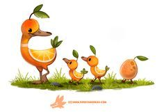 Daily Paint Duck a L'orange by Cryptid-Creations on DeviantArt - Challenging convention, inspiring creativity Cute Animal Drawings, Kawaii Drawings, Cartoon Drawings, Cute Drawings, Drawing Faces, Animal Puns, Animal Food, Dibujos Cute, Cute Creatures