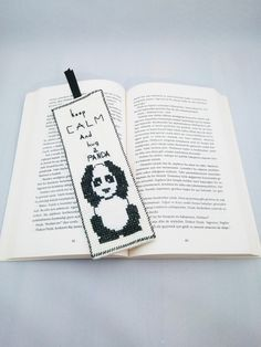Handmade / Keep Calm / Hug a Panda / Animals / Cross Stitch Bookmark / Book Lovers / Bookmark / Bookworm / Gift by AtelierbyMsAries on Etsy