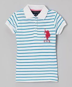 Love this White & Blue Stripe Polo - Toddler & Girls by U.S. Polo Assn. on #zulily! #zulilyfinds