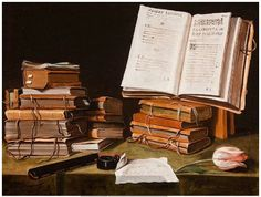 Charles Emmanuel Biset - Still life with Books, a Letter and a Tulip - 17th centuryoil on canvas,50.5 × 65 cm (19.9 × 25.6 in)