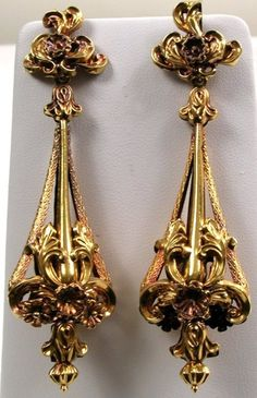 Pair of Gold Repousse Earrings, circa 1840