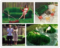 How to make DIY real green grass lawn lounger sod sofas