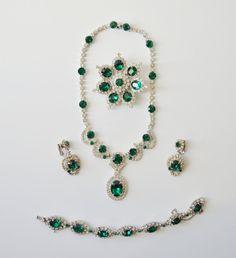 KRAMER NY Rhinestone Parure Emerald Green by AZCreativeStudio