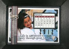 Mini Calendar photo frame, made with Club Scrap's calendar cutaparts