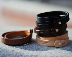 Wrap Bracelet by Leather Works Minnesota - thinking to stamp allergens on some...