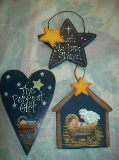 Manger ornaments Christmas Rock, Christmas Ornaments To Make, Christmas Nativity, Christmas Signs, Country Christmas, Christmas Crafts, Christmas Decorations, Christmas Holidays, Nativity Ornaments