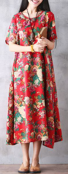 US$20.94 Gracila Bohemian Women Vintage Floral Printed Loose Short Sleeve Maxi Dresses