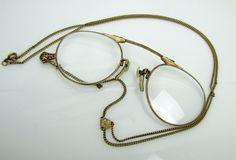 1920s Art Deco 12K Gold Fill Pince Nez Folding Spectacle Necklace. Gatsby Long Sautoir Y Pendant Chain. Antique Prescription Eyeglasses by MercyMadge on Etsy
