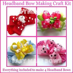 Kids Craft,headband,how to Make Hair Bows Instructions Assembly Kit, Easymakebows Made in Usa, Ribbon,accessories for Ages 12 & Up. Creativity Gift Ideas..