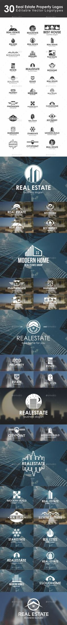30 Real Estate Mortgage Property Logos / Logo Emblems / Personal Identity Logotype / Badges / Labels. – Editable Vector Logotypes Bundle / Collection. Professional and elegant logos suitable for construction, real estate, realty, mortgage, property business, building company, builders, hotel and resort business, etc. It stands out and instantly recognizable. Perfect for Property seller or buyers, properties management, rent service, Housing agents, mortgage or home developers.: