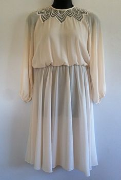 Vintage 70s Ivory Swing Dress with Lace Neckline