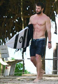 Muscular: Chris resides in the coastal town of Byron Bay