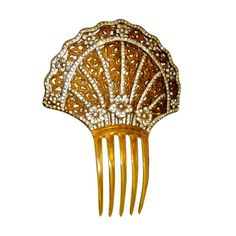 Art Deco Amber-Colored Celluloid Comb with Filigree & Rhinestones #giftsforher