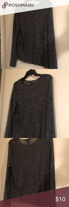 Victoria secret see through shirt M/L Black with silver sparkles dress it up under a outfit or sleep in it your choice at vs Victoria's Secret Tops Blouses