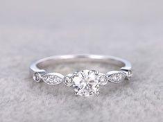 Vintage Moissanite Engagement Rings Diamond Promise Ring White Gold 14k/18k Art Deco Retro Milgrain #vintageengagementrings