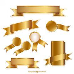 Conjunto de cintas y divisas de oro Vector Gratis
