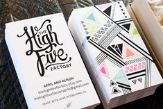 The High Five business card design: I like the idea of creating a graphic... something that I made on the business card
