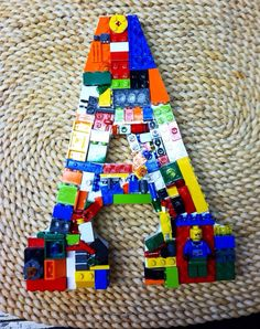 Custom toy brick wall letter. A by MosaicTreasureBox on Etsy,