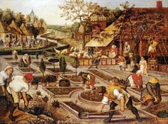 Pieter Bruegel the Elder - Spring: Gardeners, Sheep Shearers and Peasants Merrymaking