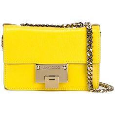 Jimmy Choo Rebel Crossbody Bag (18 300 UAH) ❤ liked on Polyvore featuring bags, handbags, shoulder bags, yellow handbag, crossbody shoulder bags, chain shoulder bag, yellow crossbody and locking purse