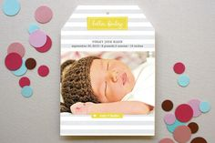 Striped Hello Birth Announcements by Amy Sheridan at minted.com