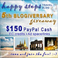 Happy Steps Travel Blog 5th Anniversary Giveaway (Open Worldwide) $150 PayPal Cash, Entrecard Credits, Ad spaces/links!  August 25 - September 25, 2012