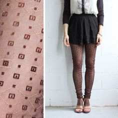 Sheer Leggings - Chocolate Brown with Geometric Flocking and Metallic printing- S, M, L. $39.00, via Etsy.