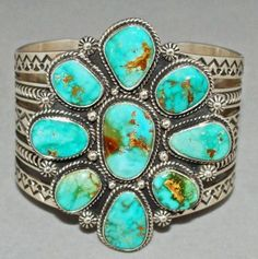 Turquoise Mountain turquoise sterling silver cuff by Mike Thompson, Navajo.