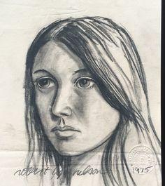 Early art of Robert Lyn Nelson.Charcoal portrait. 1975  @robertlynnelson.com