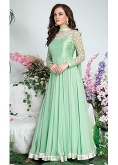 Party Wear Green Georgette Anarkali Suit  - Tijori02