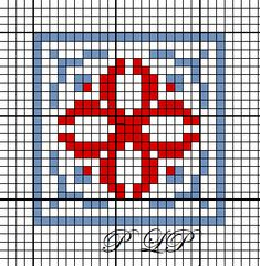 Petit Carré n° 29 - Lin Pulsion - Cross Stitch Heart, Cross Stitch Cards, Counted Cross Stitch Patterns, Cross Stitching, Fair Isle Knitting Patterns, Weaving Patterns, Hand Embroidery Stitches, Cross Stitch Embroidery, Cross Stitch Geometric