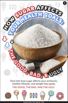 I want to dive into how sugar affects your workouts, healthy lifestyle, and weight loss goals. I will give it to you straight - Sugar: The good, the bad, and the ugly. #sugar #healthyeating #healthy #healthydiet #moderation Health And Fitness Articles, Health Fitness, Sugar Health, Health Goals, Weight Loss Goals, Being Ugly, Healthy Lifestyle, Workouts, Healthy Eating