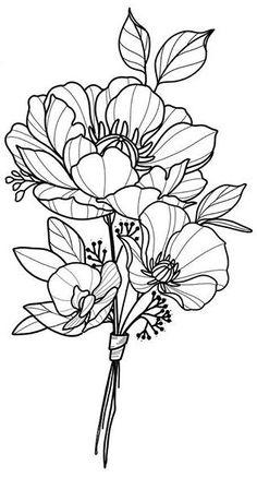Tatoo Art, Tattoo Drawings, Art Drawings, Flower Tattoo Designs, Flower Tattoos, Tatto Floral, Floral Drawing, Desenho Tattoo, Irezumi