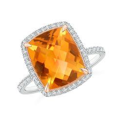 Angara Trillion Citrine Cocktail Ring with Diamond Accents xRYdcIWbxg