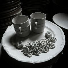 porcelain pretzel necklace    Technical: ready made, plaster molds, casting.  Materials: porcelain slip, Gold 14k   Designer: Eden Hevroni     Web: Www.edenhevroni.com    #Design #designer #art #Pretzels #handmade #designstudio #necklace #productdesign #artist #necklaces #pendant #precelki #bretzeln #pretzel #designstudio #brezel #precel #porcelaindesign #EdenHevroni #lajkonik #porcelain #handwork